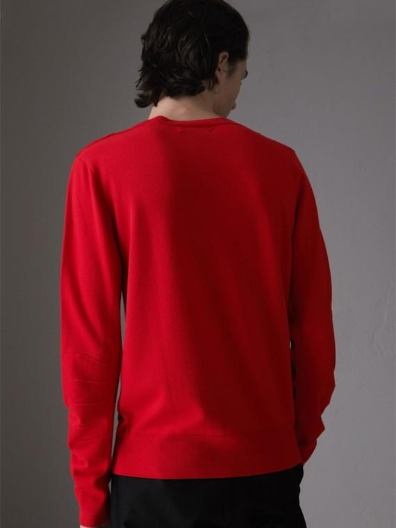 Pull en laine mérinos avec détails check (Cobalt Foncé) - Homme | Burberry - cell image 2