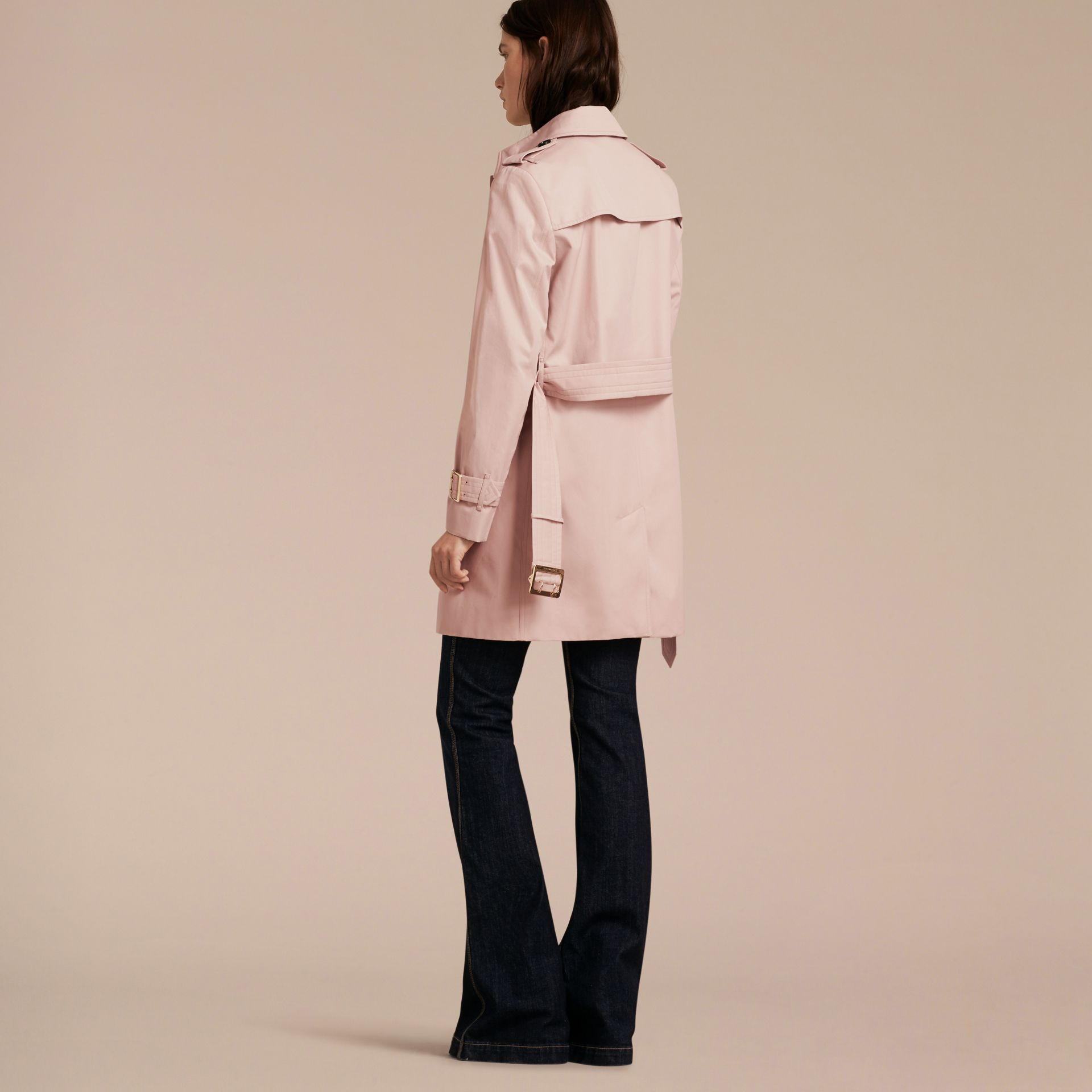 Single-breasted Trench Coat with Metal Buckle Detail Ice Pink - gallery image 3