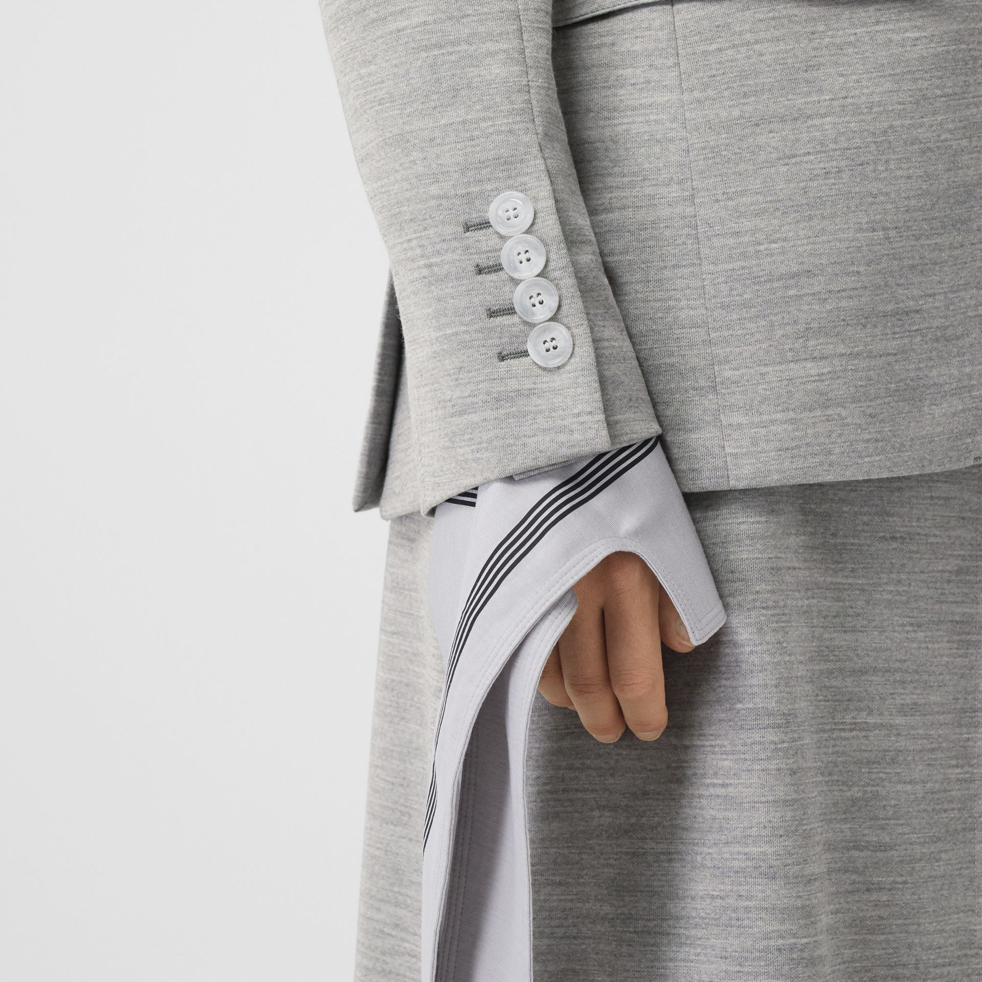 Technical Wool Jersey Blazer in Grey Taupe Melange - Women | Burberry - gallery image 4