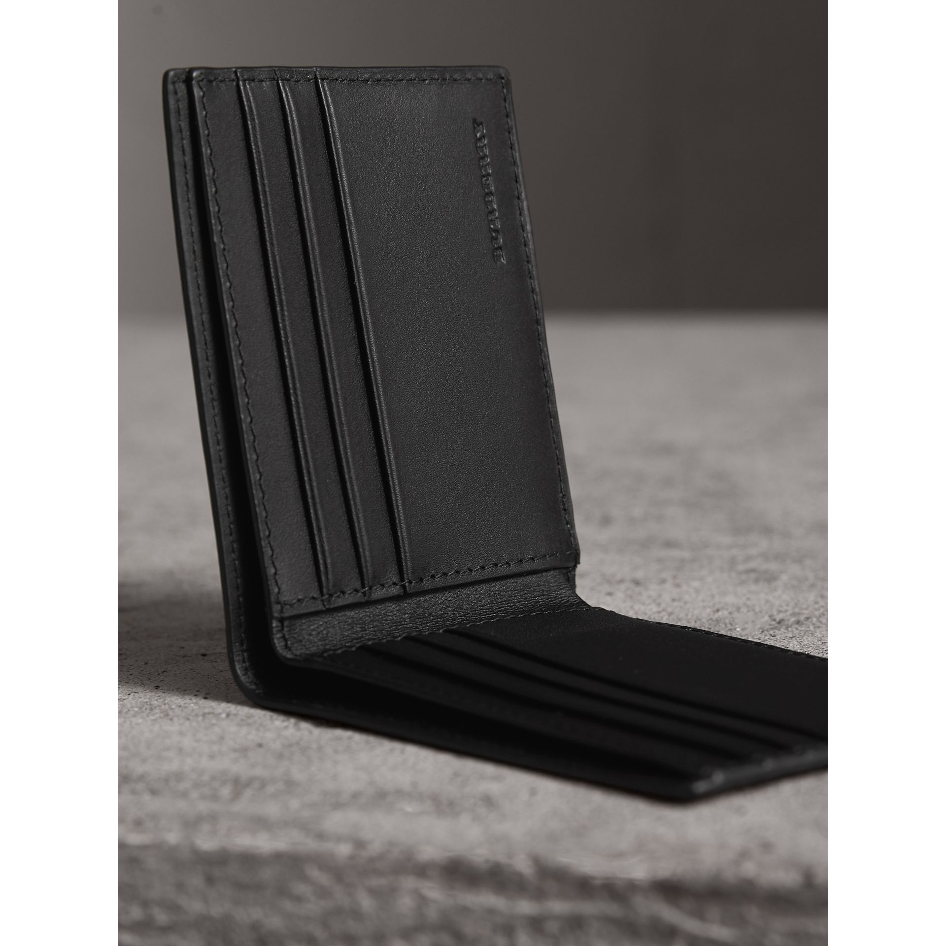 London Check Bifold Wallet in Charcoal/black - Men | Burberry Australia - gallery image 3