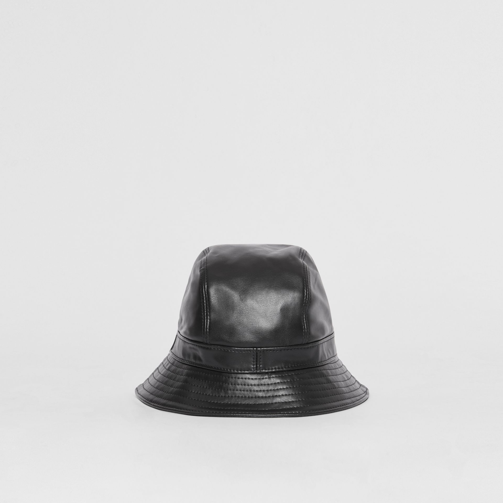 Logo Detail Faux Leather Bucket Hat in Black | Burberry - gallery image 6