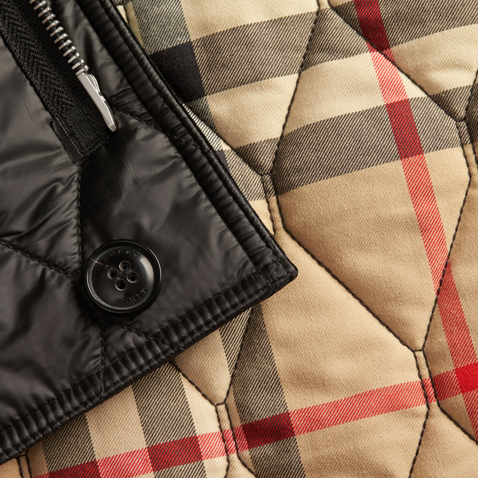 Black Check Detail Quilted Jacket with Corduroy Collar - gallery image 2