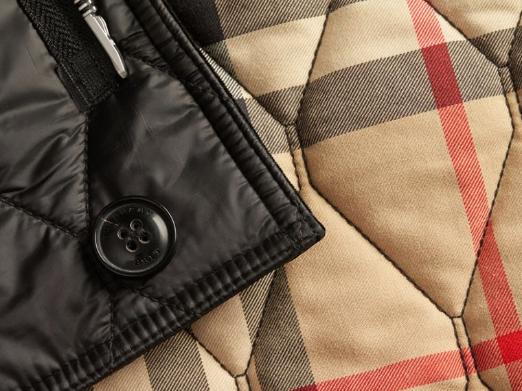 Black Check Detail Quilted Jacket with Corduroy Collar - cell image 1