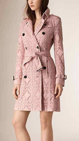 Trench coat de renda de gabardine