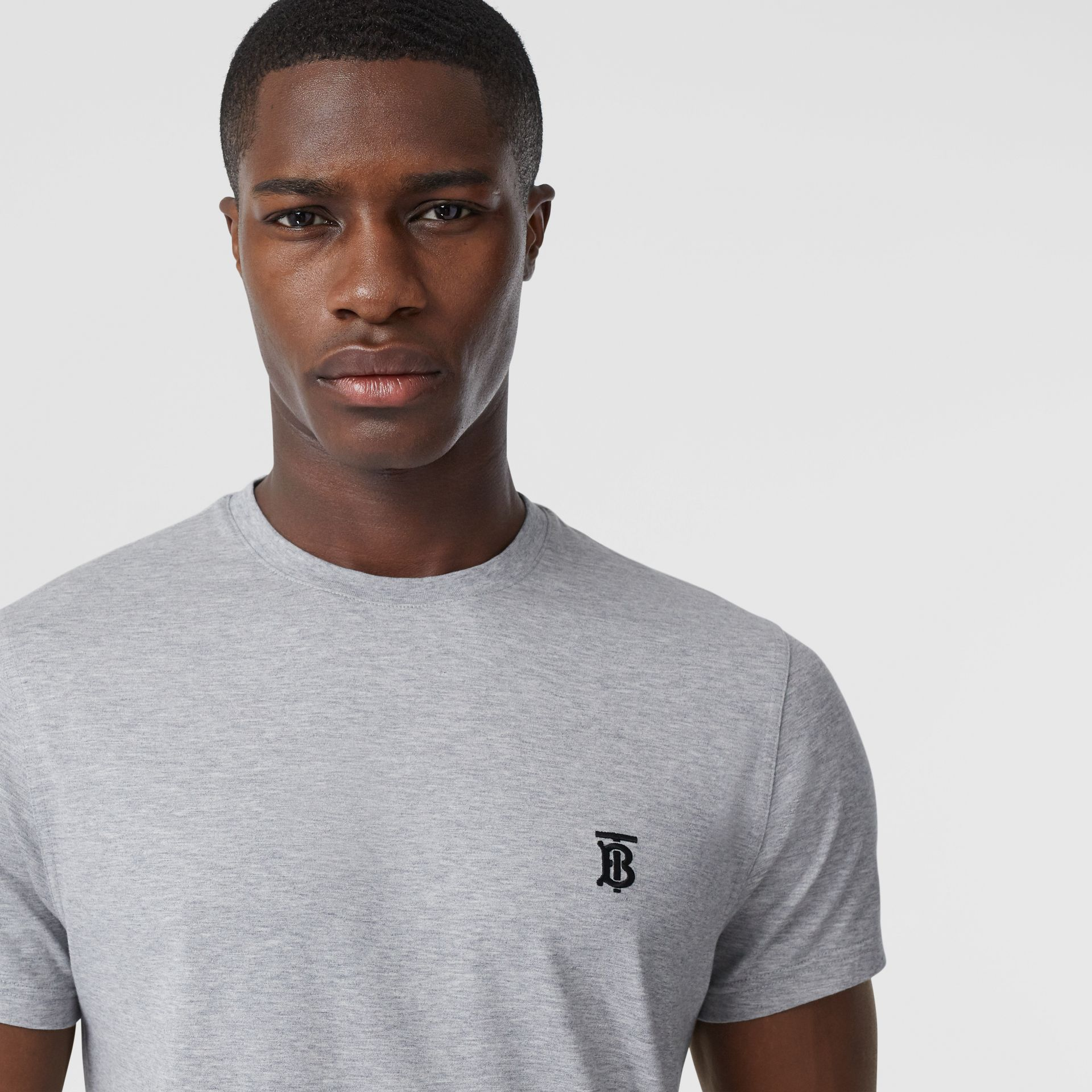 Monogram Motif Cotton T-shirt in Pale Grey Melange - Men | Burberry - gallery image 1