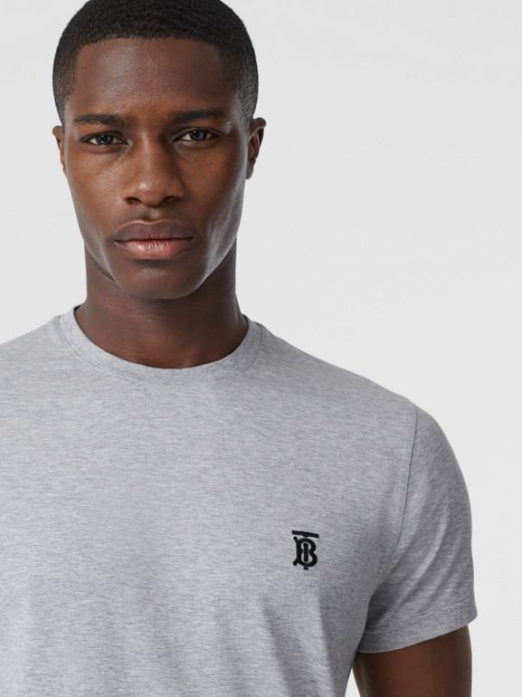 Monogram Motif Cotton T-shirt in Pale Grey Melange - Men | Burberry - cell image 1