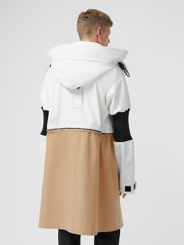 Detachable Hood Cotton Reconstructed Car Coat in Optic White | Burberry - cell image 2