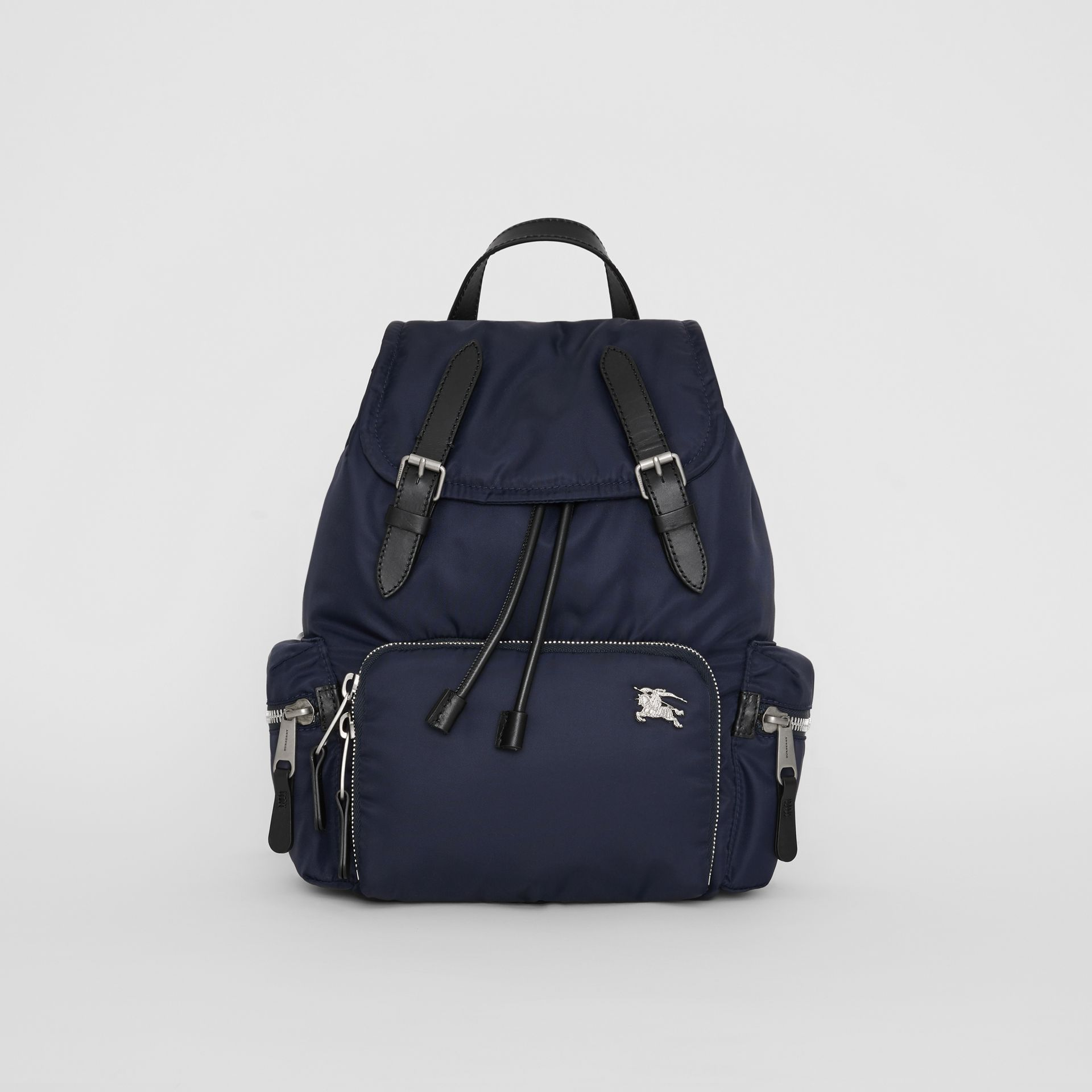 The Medium Rucksack in Puffer Nylon and Leather in Ink Blue - Women | Burberry United Kingdom - gallery image 0