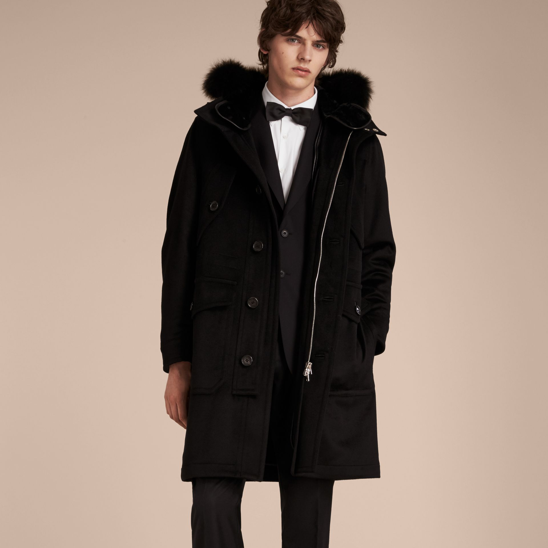 Black Fox and Shearling Trim Cashmere Parka with Fur Liner - gallery image 7