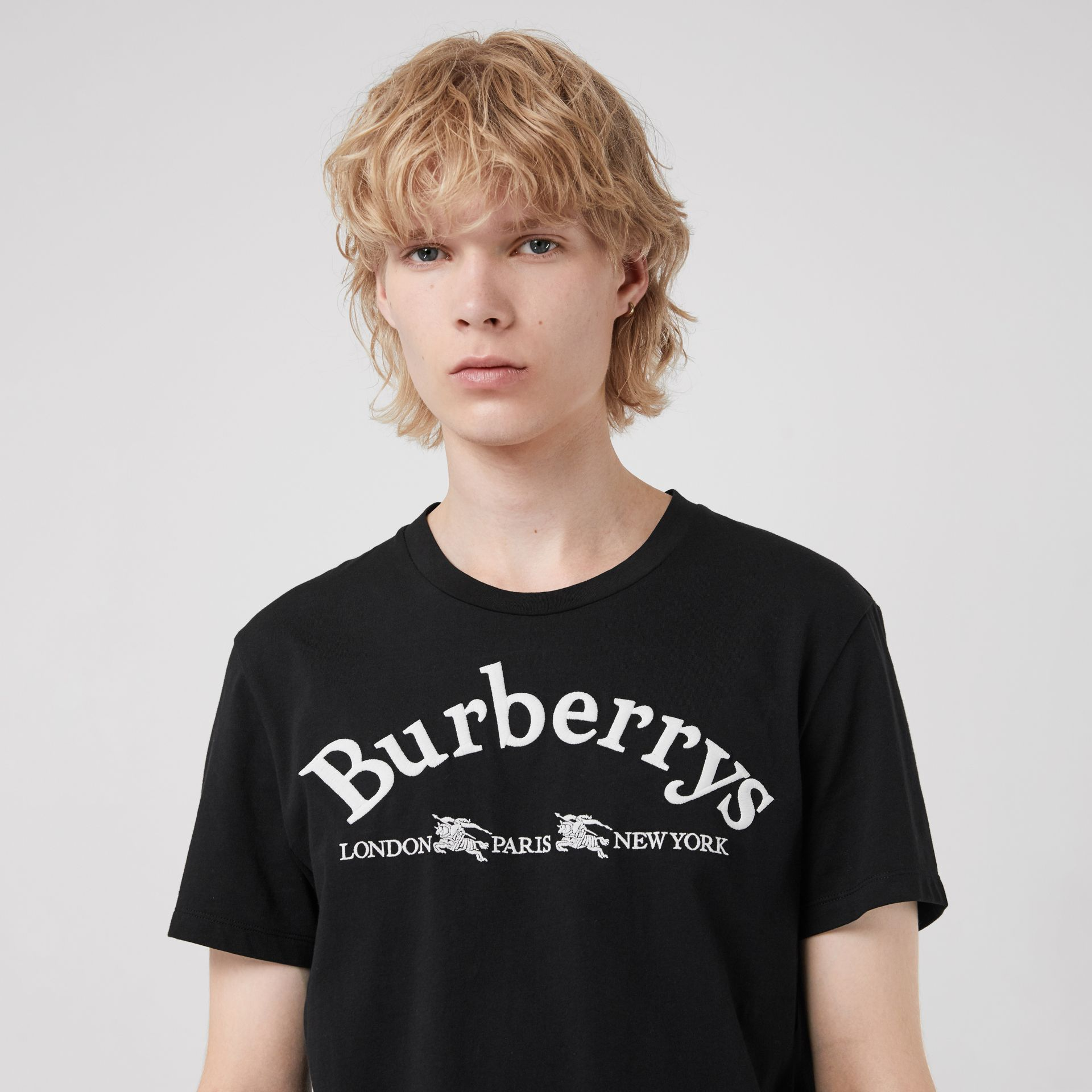 Archive Logo Cotton T-shirt in Black - Men | Burberry - gallery image 1