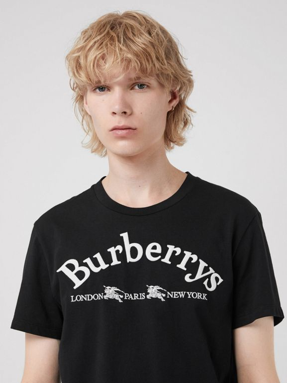 Archive Logo Cotton T-shirt in Black - Men | Burberry United Kingdom - cell image 1