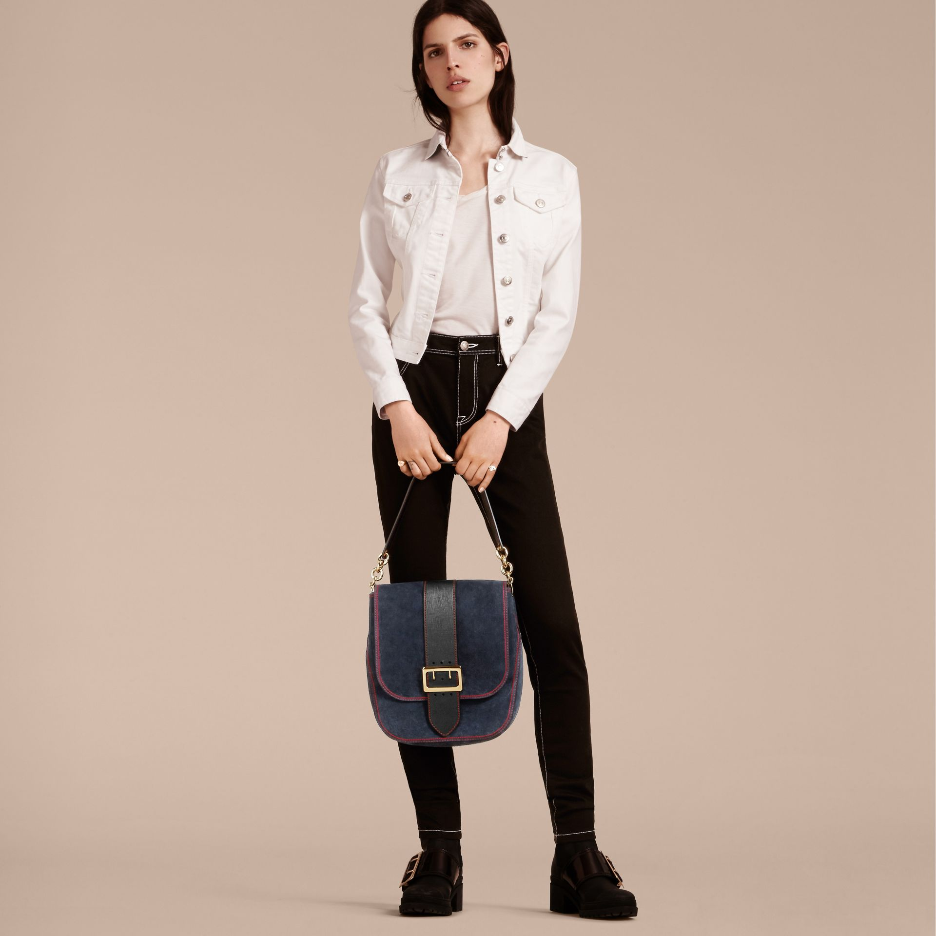 Navy The Buckle Satchel in Suede with Topstitching Navy - gallery image 3