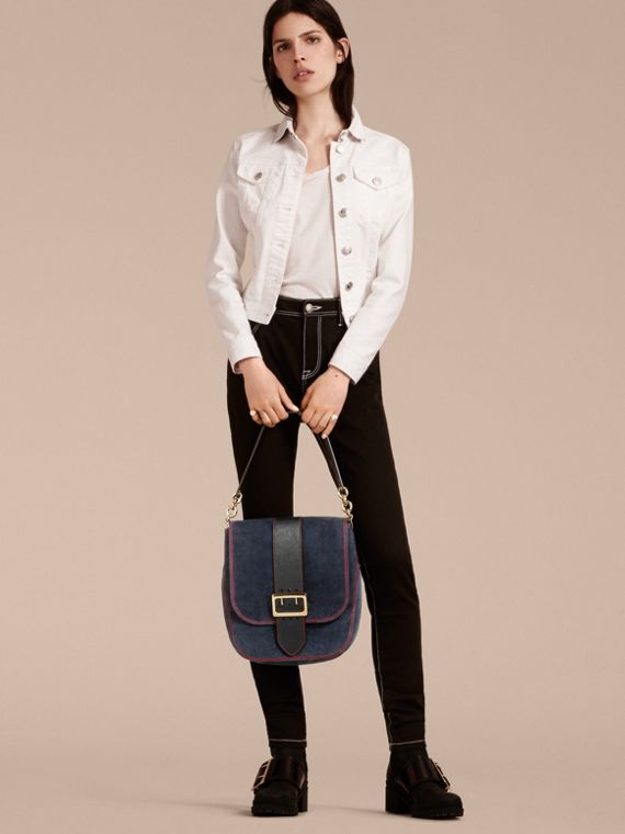 Navy The Buckle Satchel in Suede with Topstitching Navy - cell image 2