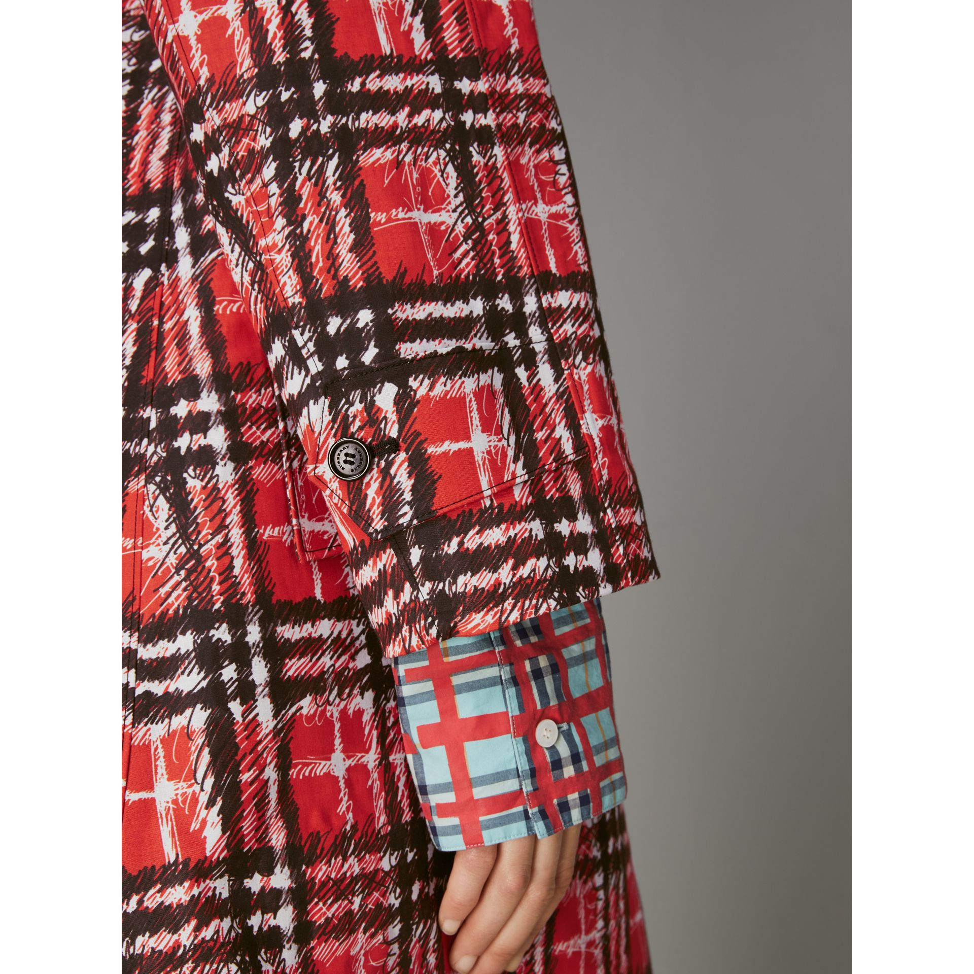 Scribble Check Bonded Cotton Car Coat in Bright Military Red - Women | Burberry - gallery image 5