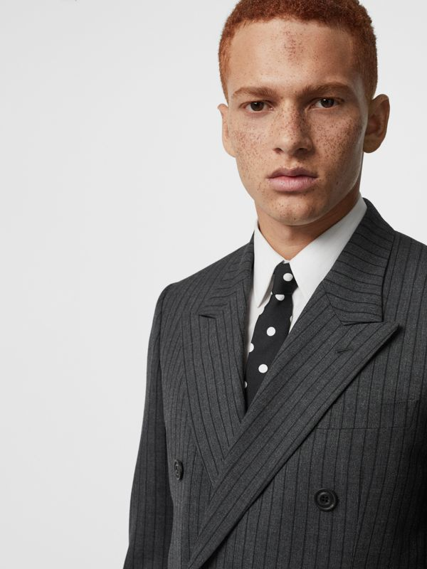 Slim Cut Spot Print Silk Tie in Black - Men | Burberry - cell image 2