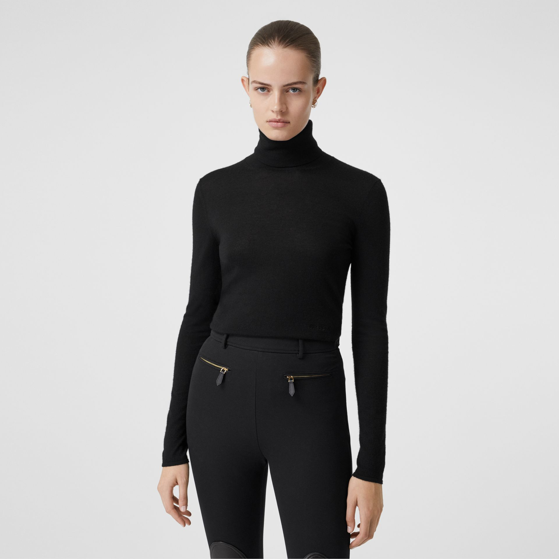 Logo Embroidered Cashmere Silk Roll-neck Sweater in Black - Women | Burberry United Kingdom - gallery image 4