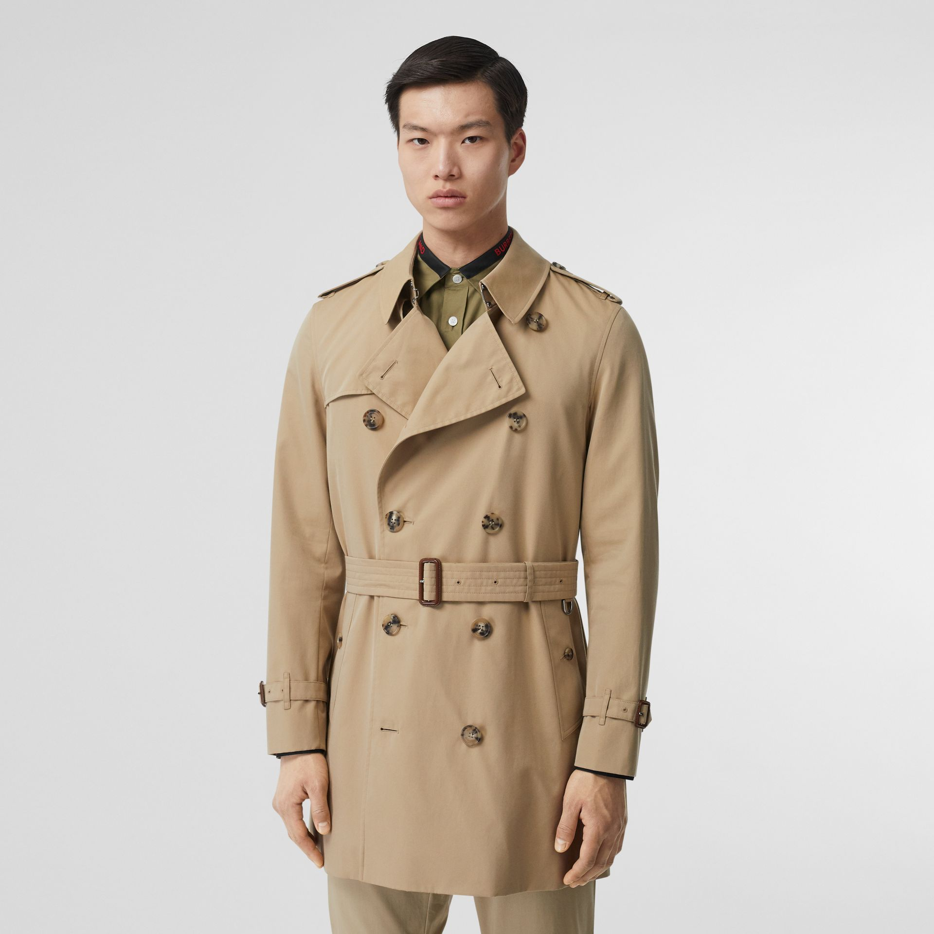 Cotton Gabardine Trench Coat in Honey - Men | Burberry Canada - gallery image 6
