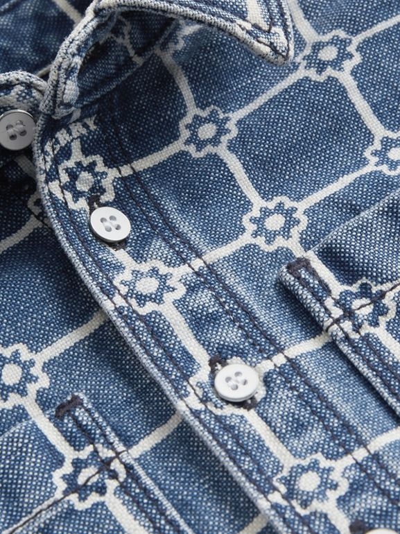 Flower Print Cotton Linen Shirt in Indigo | Burberry - cell image 1