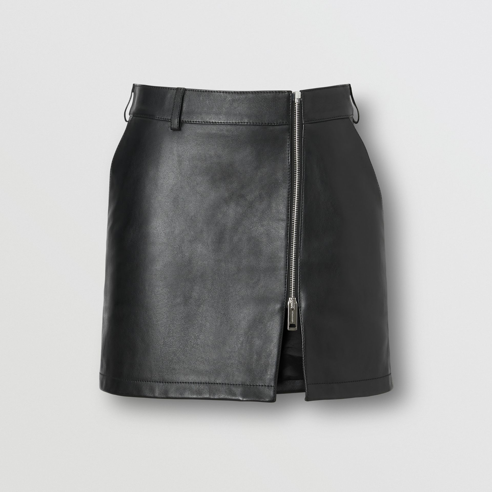 Zip-front Leather Mini Skirt in Black - Women | Burberry - gallery image 3