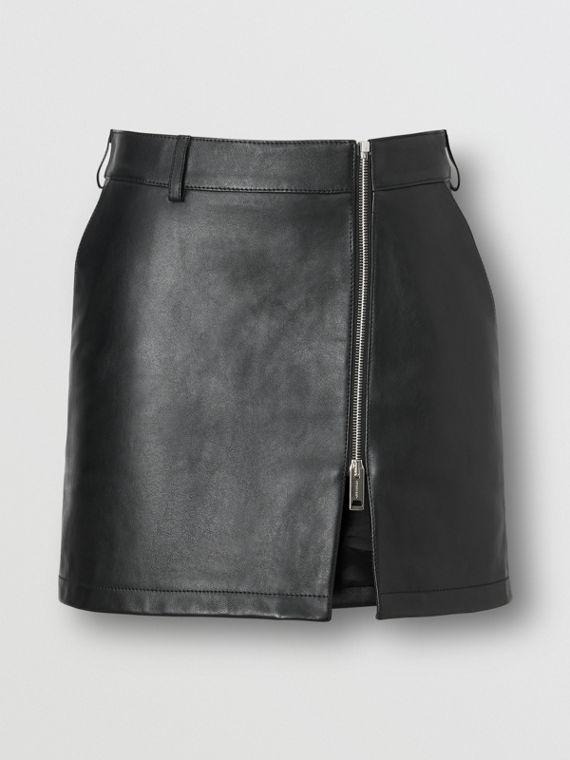 Zip-front Leather Mini Skirt in Black