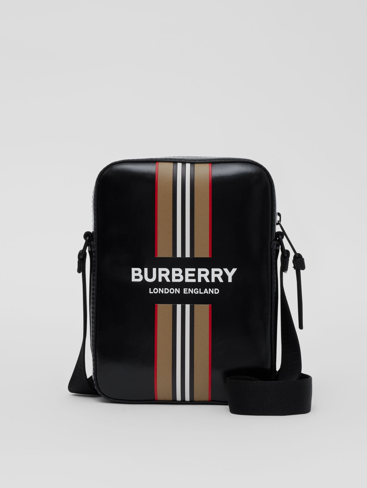 Logo and Icon Stripe Print Crossbody Bag (Black)