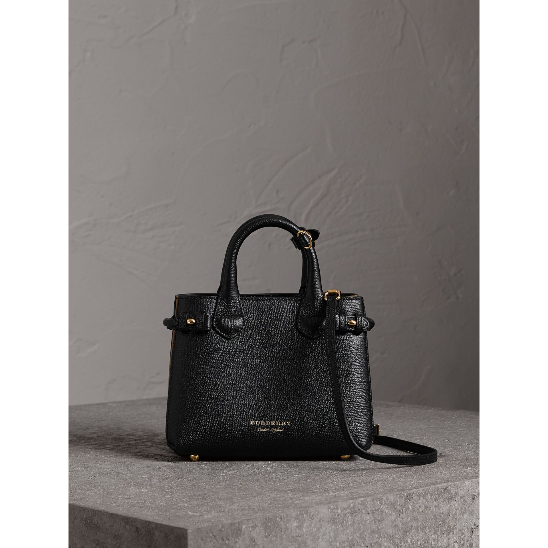 The Baby Banner in Leather and House Check in Black - Women | Burberry United Kingdom - gallery image 6