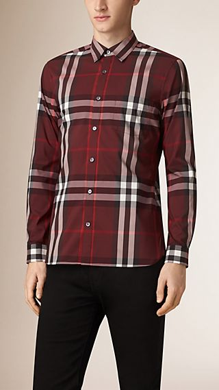 Camicia a quadretti in misto cotone stretch