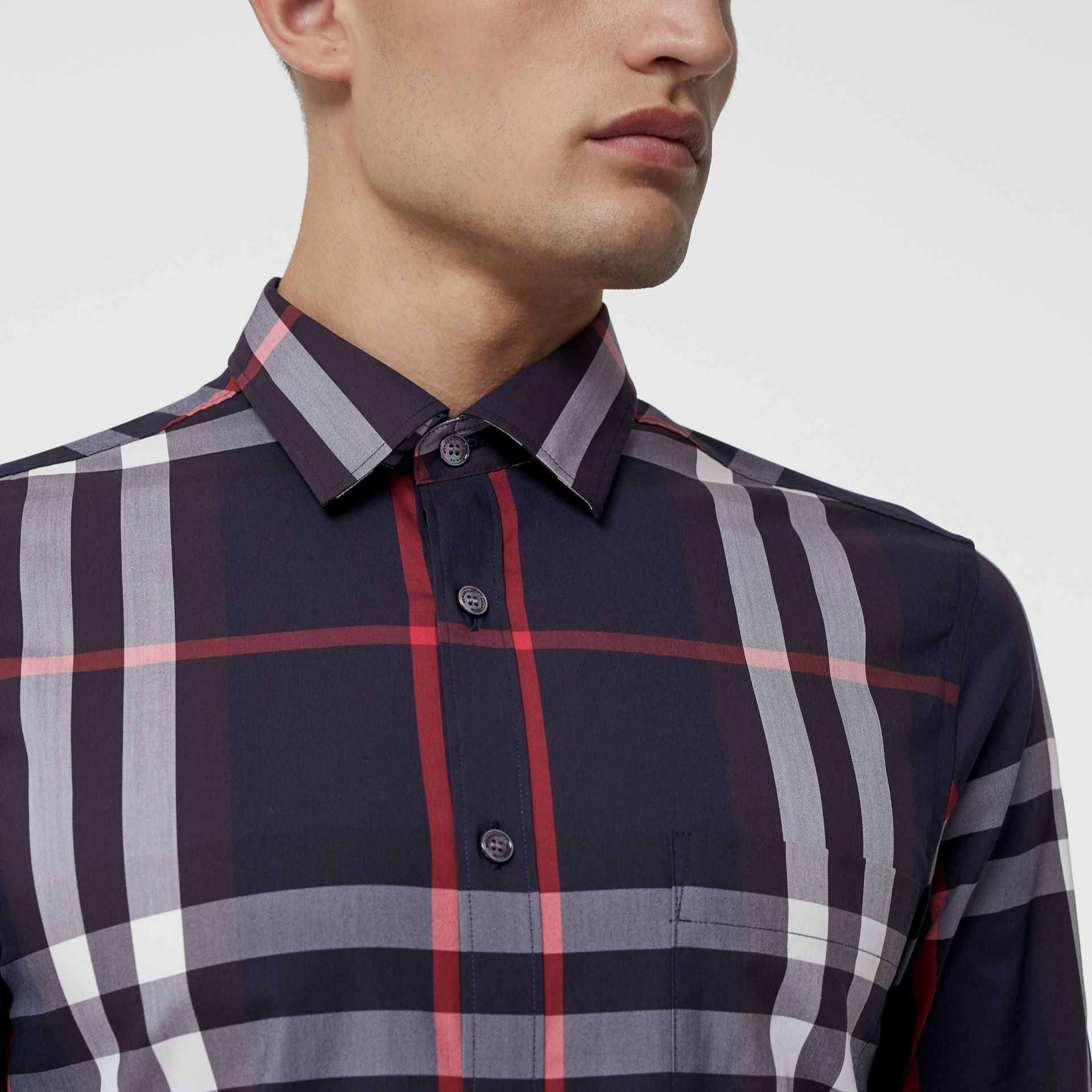 Check Stretch Cotton Shirt in Navy - Men | Burberry Hong Kong - gallery image 1