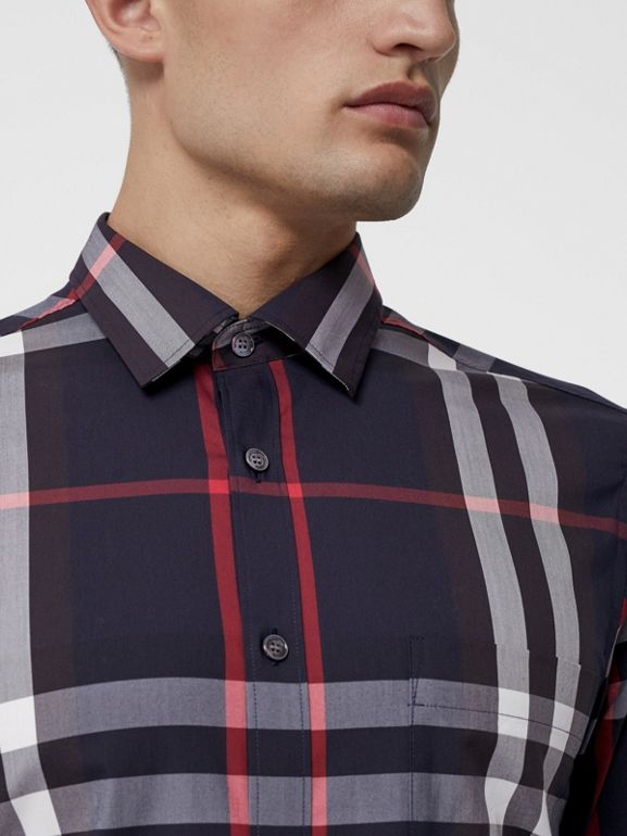 Check Stretch Cotton Shirt in Navy - Men | Burberry United States - cell image 1