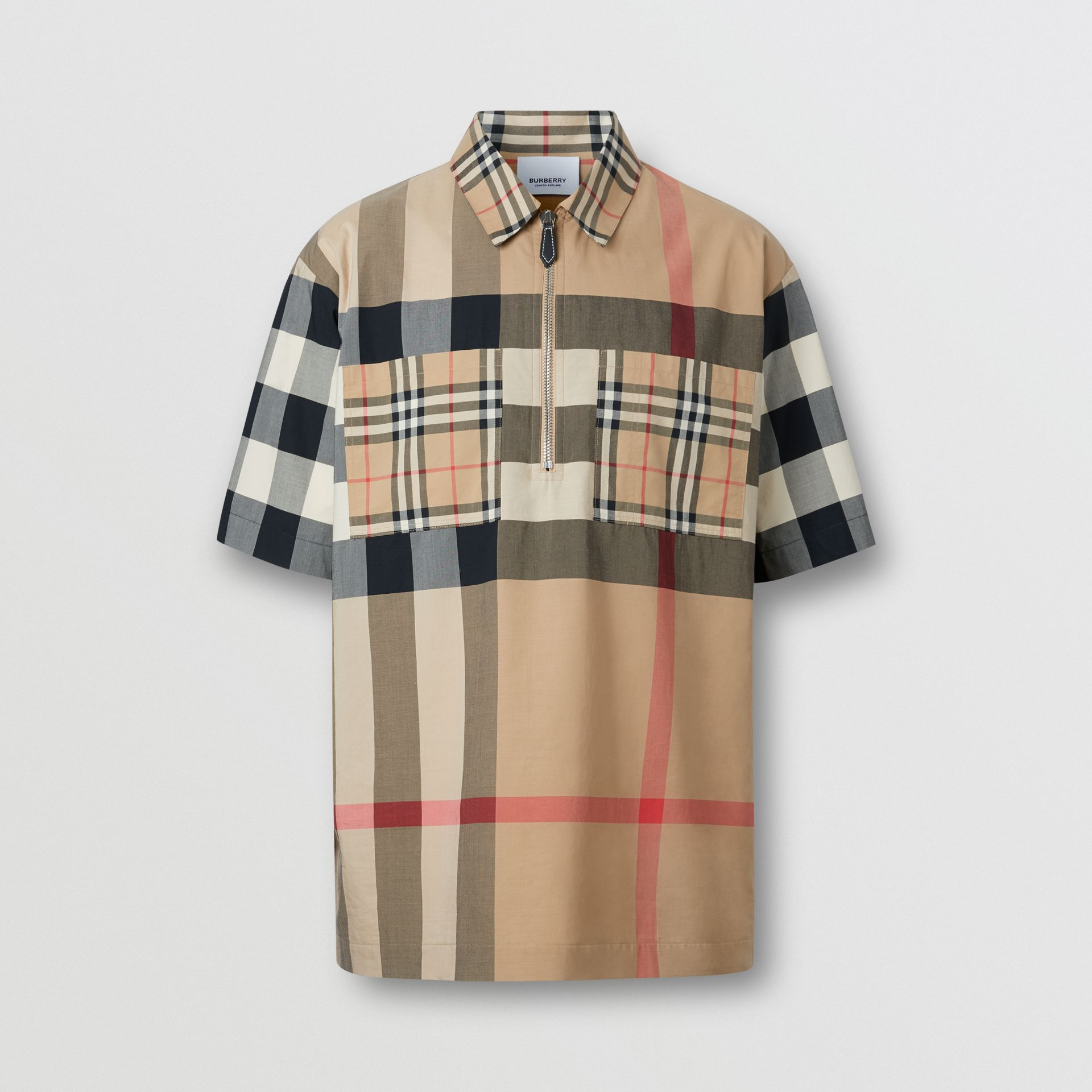 Short-sleeve Panelled Check Stretch Cotton Shirt in Archive Beige | Burberry United Kingdom - gallery image 3