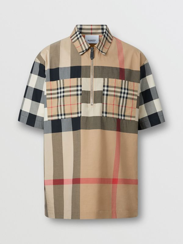 Short-sleeve Panelled Check Stretch Cotton Shirt in Archive Beige | Burberry United Kingdom - cell image 3
