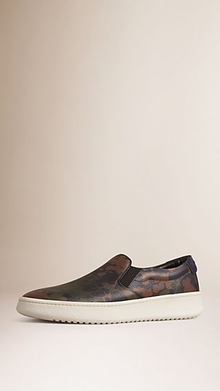 Camouflage Leather and Suede Slip-on Trainers