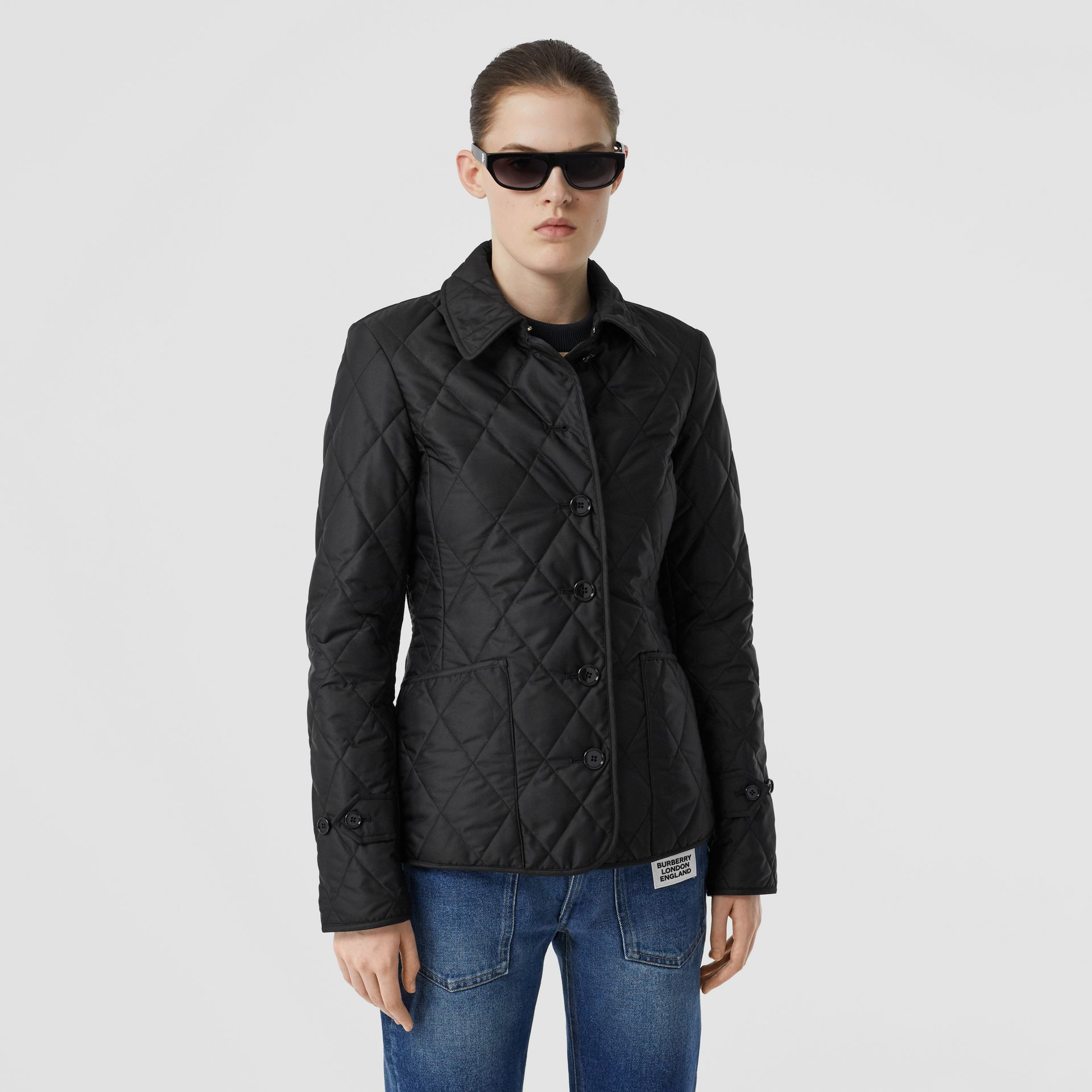 Diamond Quilted Thermoregulated Jacket in Black | Burberry Canada - gallery image 0