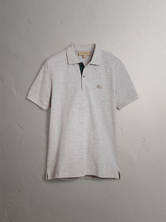 Tartan Trim Cotton Piqué Polo Shirt in Pale Grey Melange - Men | Burberry United Kingdom - cell image 3