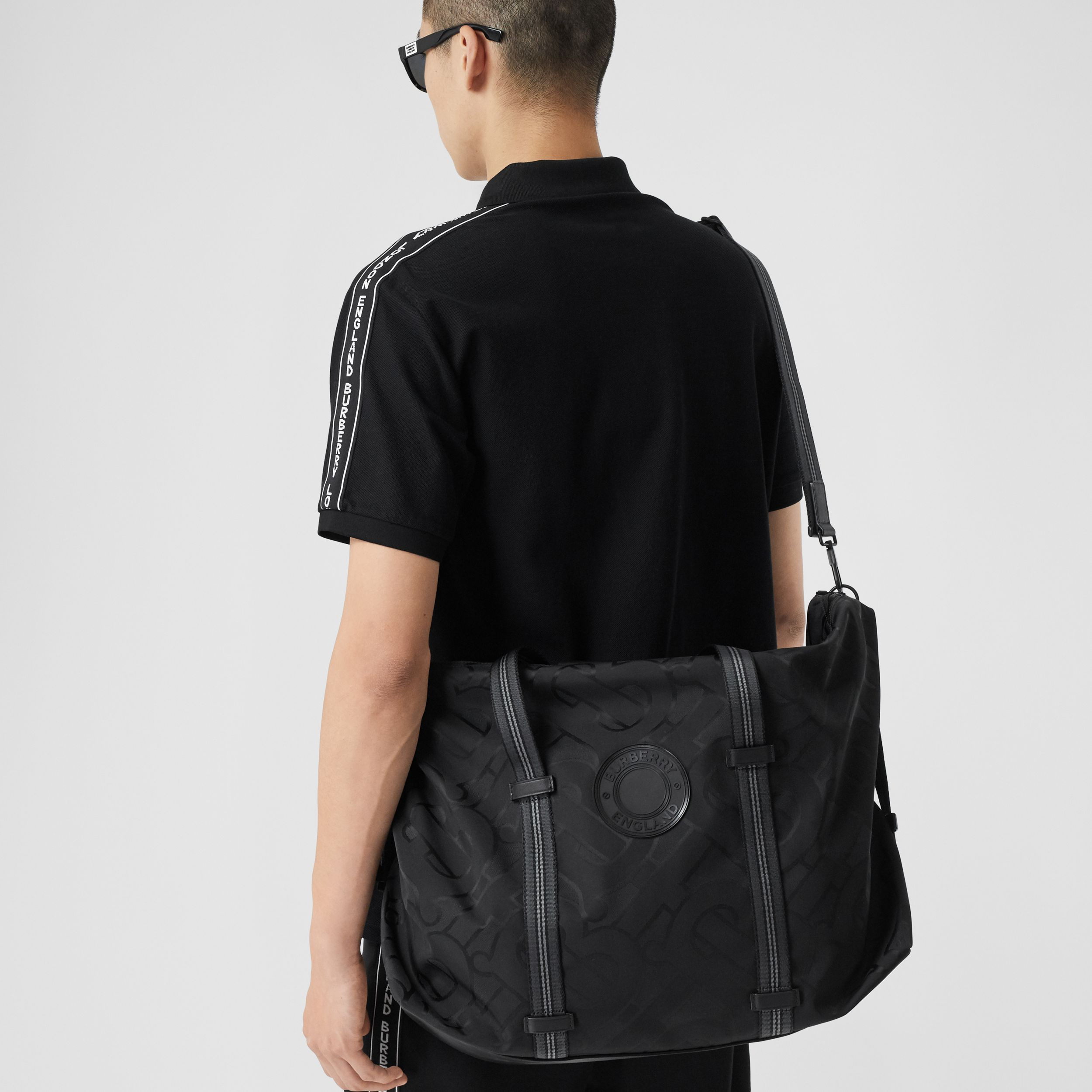 Monogram Recycled Polyester Jacquard Holdall in Black - Men | Burberry Singapore - 4