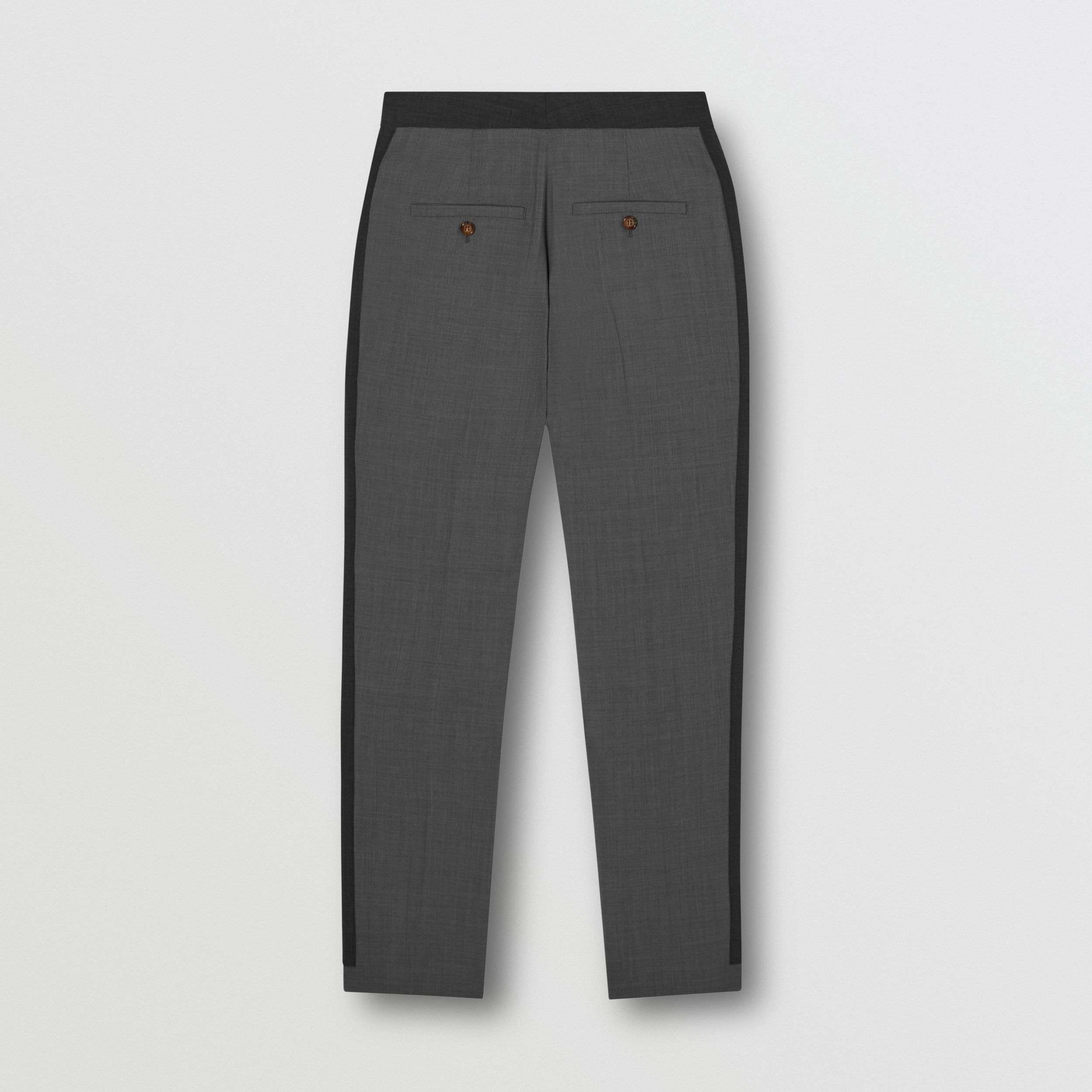 Contrast Stripe Stretch Wool Tailored Trousers in Grey - Women | Burberry - 2
