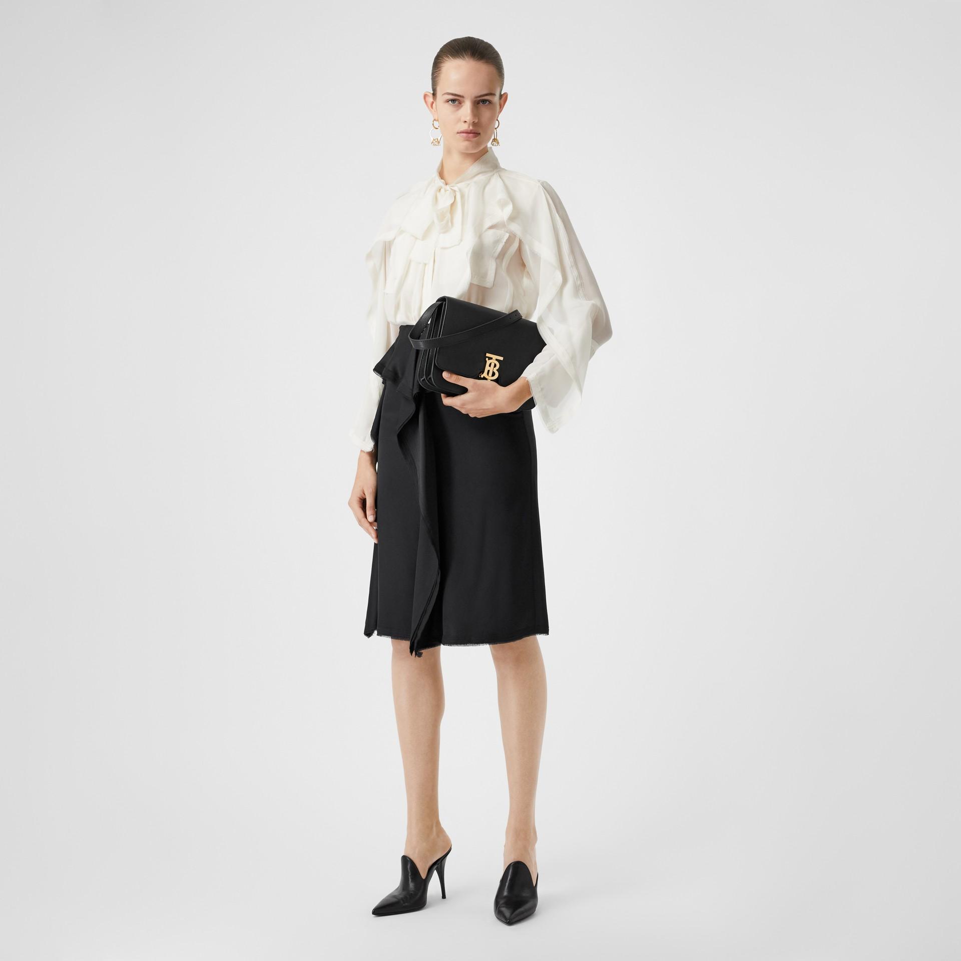 Ruffle Detail Silk Satin Pencil Skirt in Black - Women | Burberry United Kingdom - gallery image 0