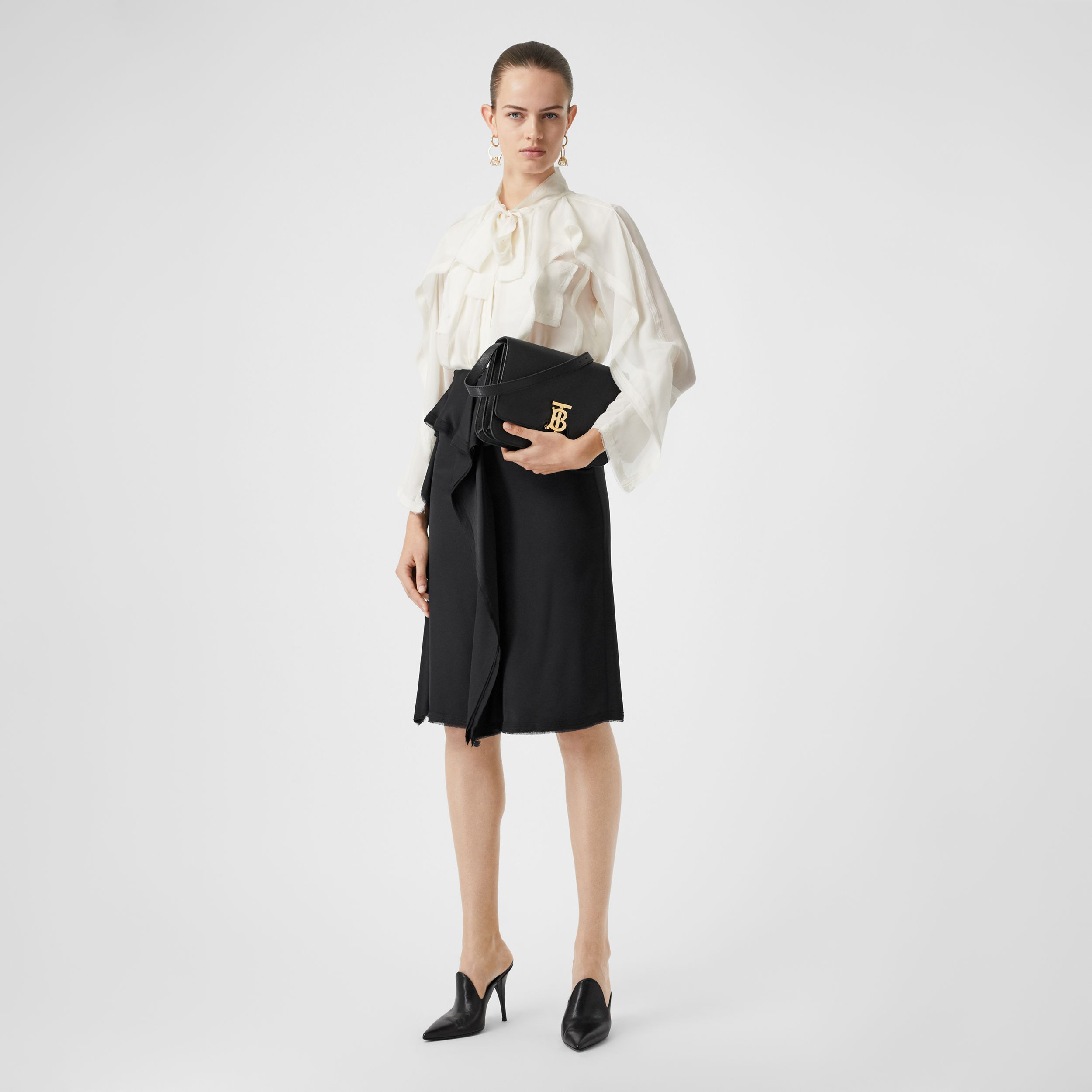 Ruffle Detail Silk Satin Pencil Skirt in Black - Women | Burberry - 1