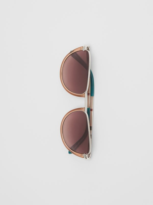 Half Moon Pilot Round Frame Sunglasses in Nude - Women | Burberry - cell image 3