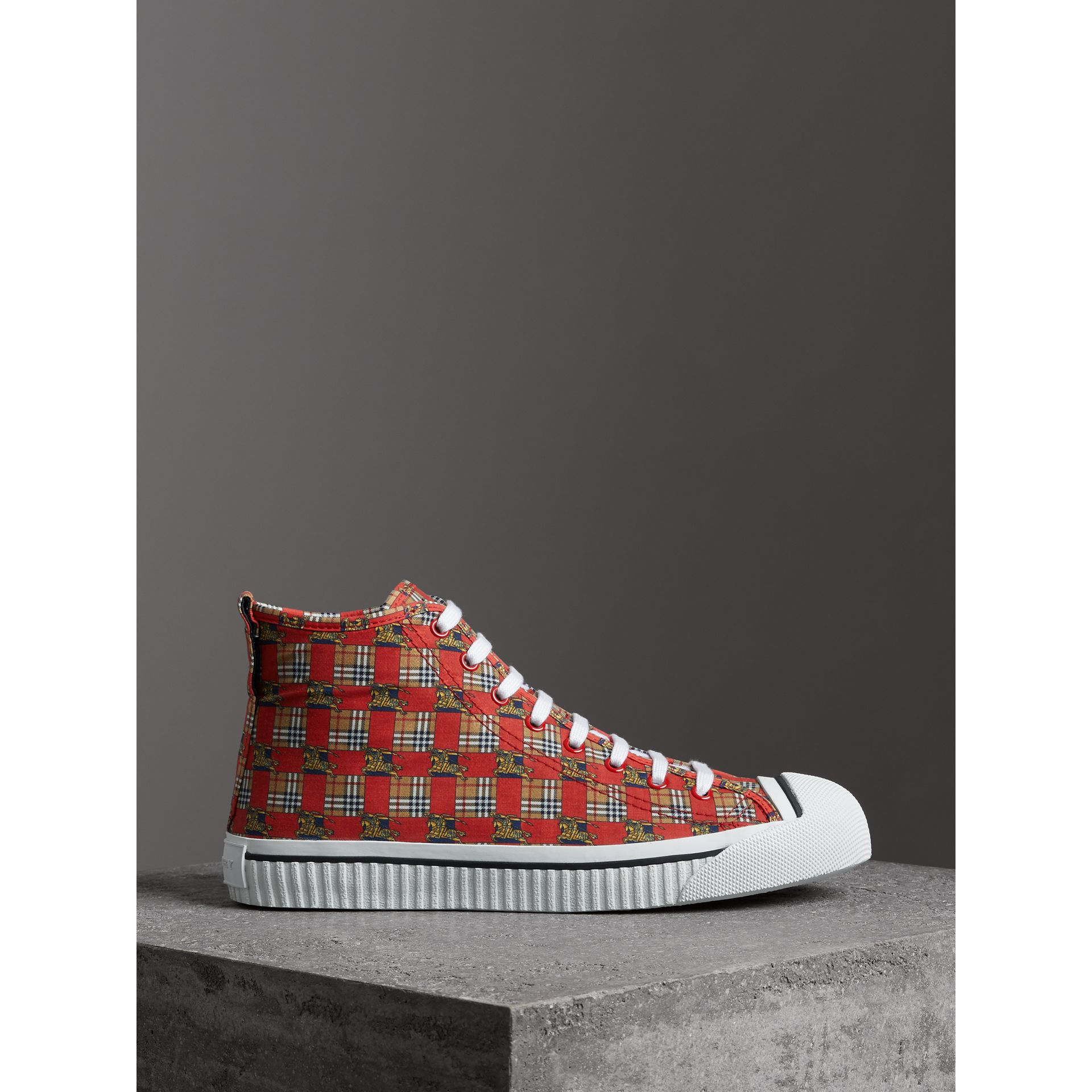 Tiled Archive Print Cotton High-top Sneakers in Bright Red - Men | Burberry - gallery image 3
