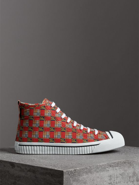 Tiled Archive Print Cotton High-top Sneakers in Bright Red - Men | Burberry Hong Kong - cell image 3