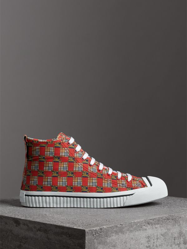 Tiled Archive Print Cotton High-top Sneakers in Bright Red - Men | Burberry - cell image 3