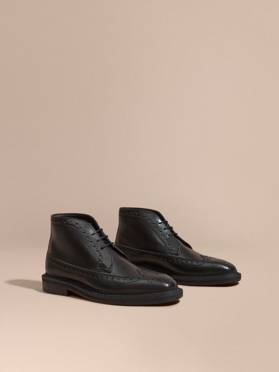 Leather Brogue Boots - Men | Burberry Singapore