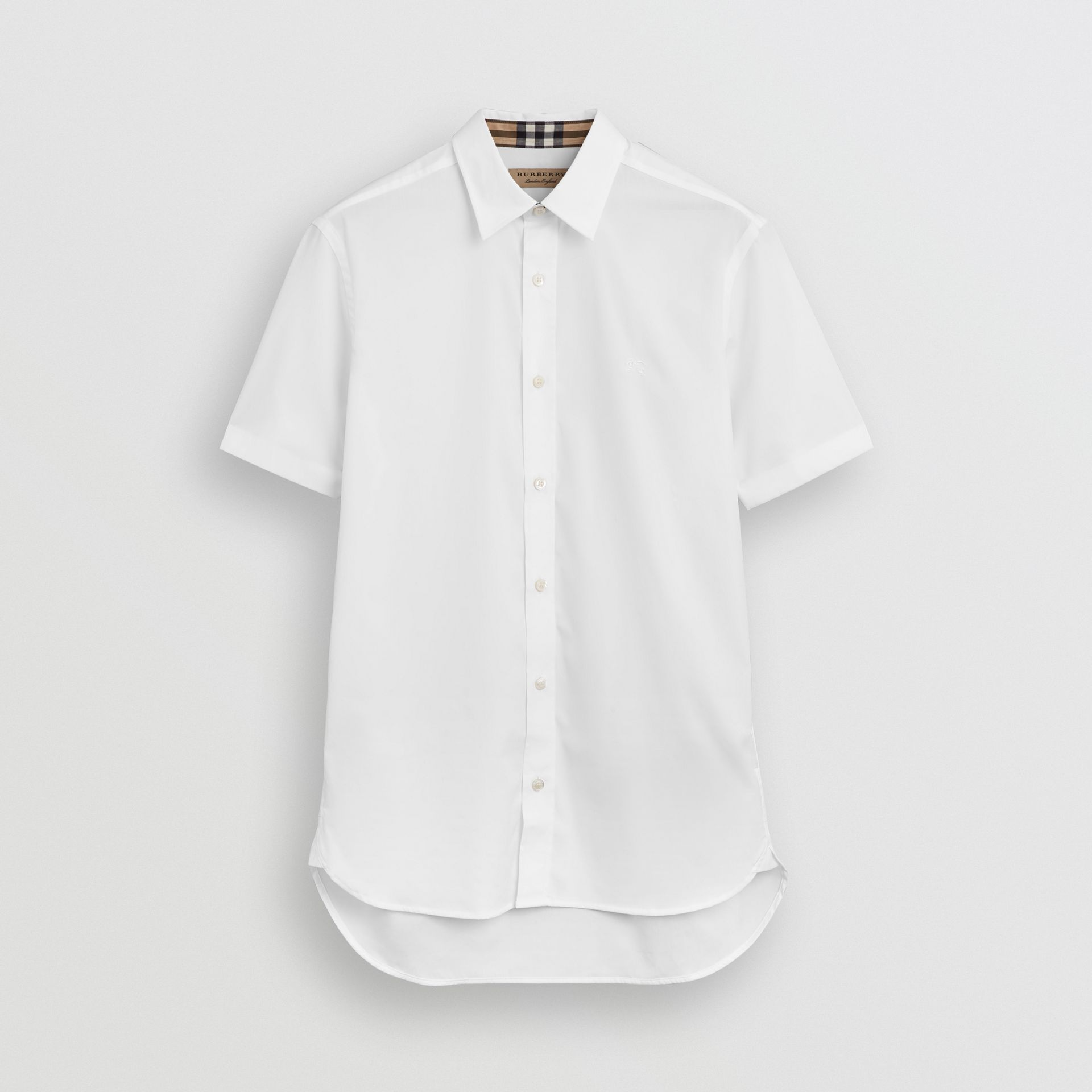 Short-sleeve Stretch Cotton Shirt in White - Men | Burberry United Kingdom - gallery image 3