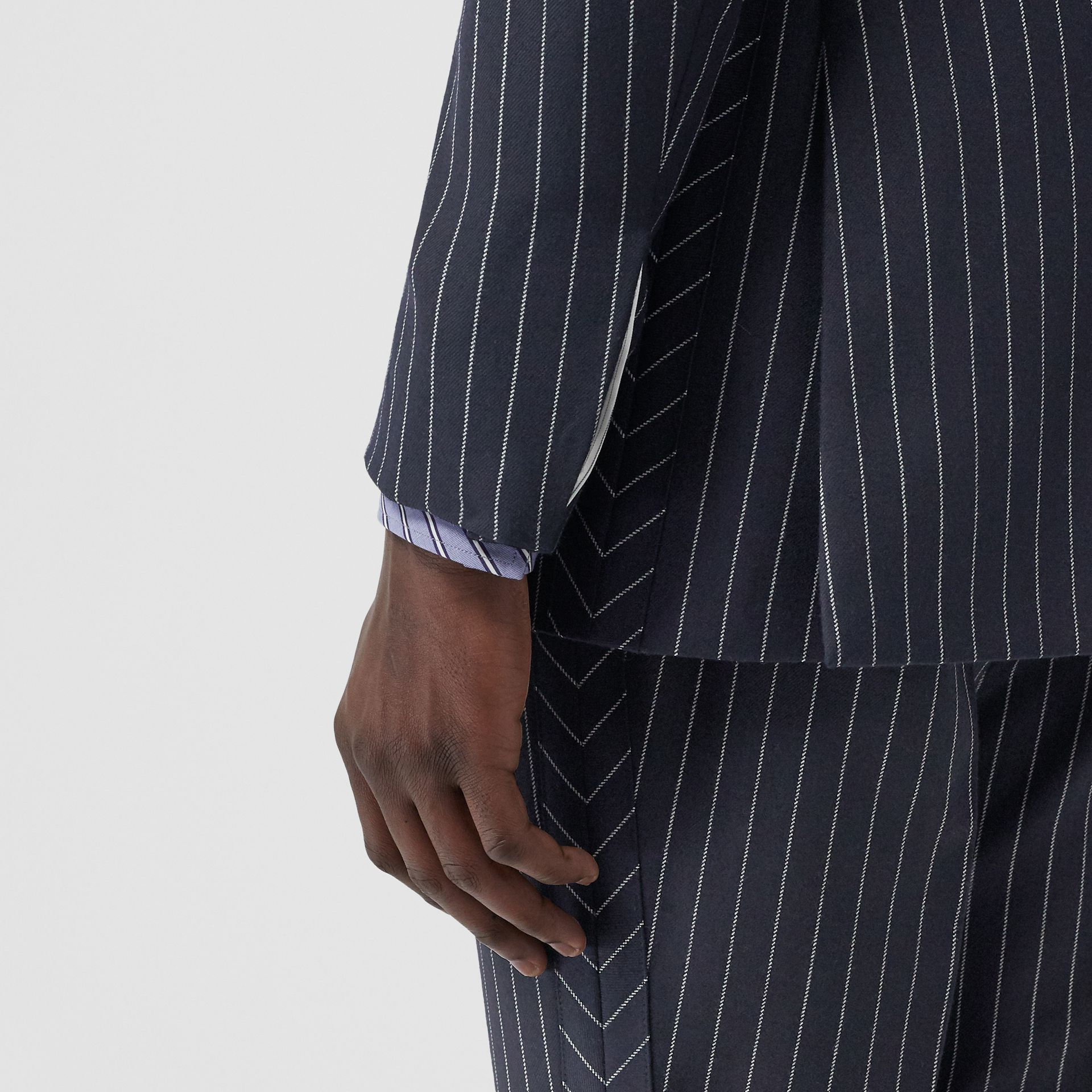 English Fit Pinstriped Wool Tailored Jacket in Dark Navy/white | Burberry - gallery image 5