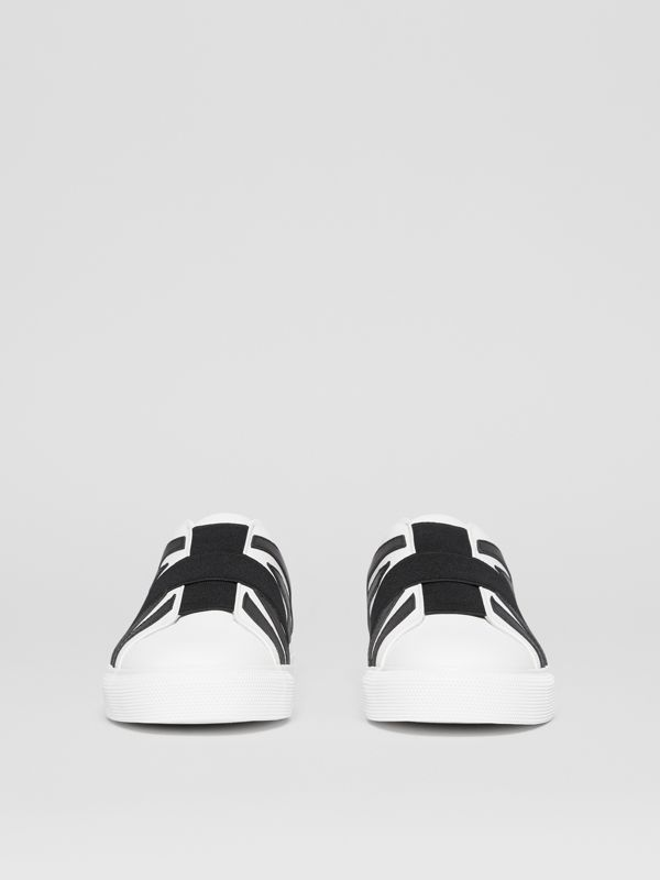 Union Jack Motif Slip-on Sneakers in Optic White/black - Women | Burberry - cell image 3
