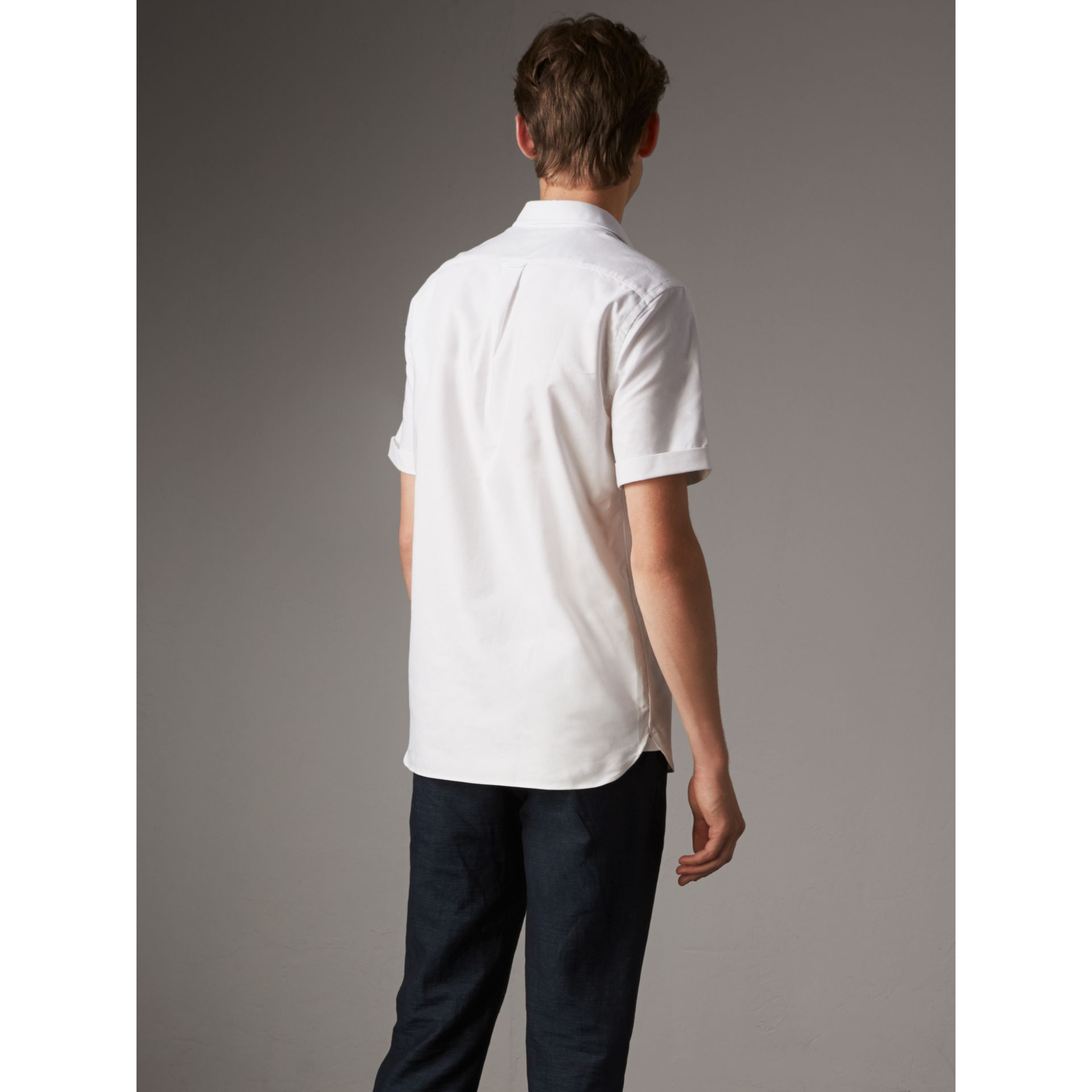 Check Detail Short-Sleeved Cotton Oxford Shirt in White - Men | Burberry United Kingdom - gallery image 3