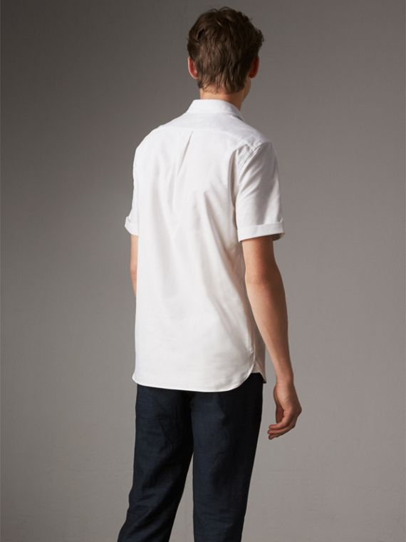 Check Detail Short-Sleeved Cotton Oxford Shirt in White - Men | Burberry United Kingdom - cell image 2