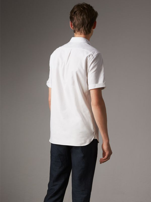 Check Detail Short-Sleeved Cotton Oxford Shirt in White - Men | Burberry - cell image 2