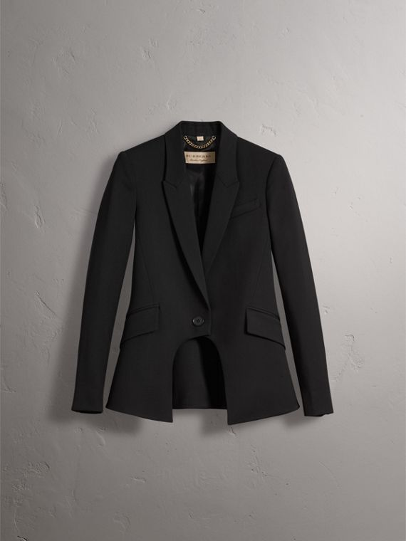 Cut-out Detail Tailored Wool Riding Jacket in Black - Women | Burberry - cell image 3